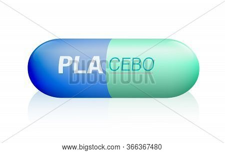 Placebo Pill. Capsule Named Placebo, A Medical Fake Product. Isolated Vector Illustration On White B