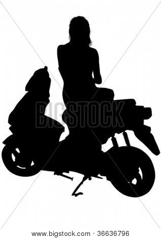 Vector drawing riders on scooter