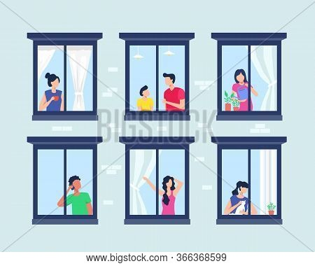 Apartment Building With People In Open Window. Set Of Neighbors During Various Activity In Windows O