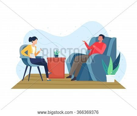 Psychotherapy Counseling Concept. Psychiatrist Doctor And Patient, Treatment Of Dementia And Mental