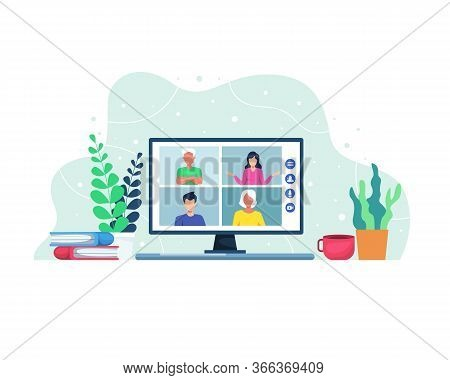 Vector Illustration Video Conference Concept. Video Conferencing And Online Meeting Workspace. Peopl