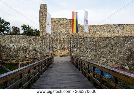 Drobeta Turnu Severin, Romania - September 07, 2019: Ruins Of Medieval Fortress. Severin Fortress.