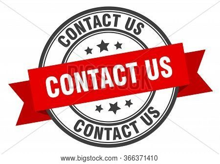 Contact Us Label. Contact Us Red Band Sign. Contact Us