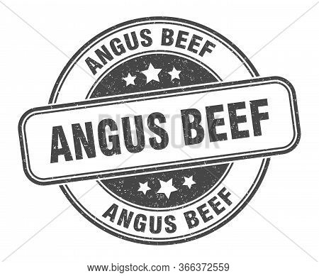 Angus Beef Stamp. Angus Beef Round Grunge Sign. Label
