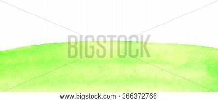 Sunny Meadow, The Land With Green Grass, Abstract Summer Watercolor Background. Stain Blot Spot Blob