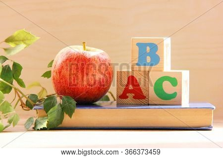 Wooden Blocks With The Letters A, B, C On The Book Next To An Apple And A Houseplant. The Concept Of