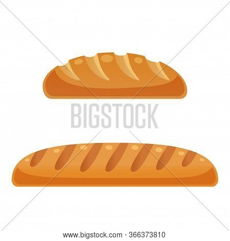 Loaf Of Bread. Isolated On White Background. Vector Flat Color Icon. For Poster And Menu Bakery Shop