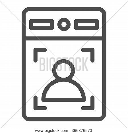 Intercom With Guest Line Icon, Smart Home Symbol, Person Recognition Vector Sign On White Background