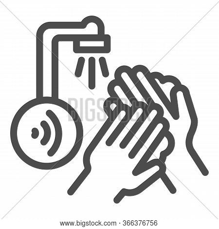 Hands Washing Under Sensor Faucet Line Icon, Smart Home Technology Symbol, Motion Water Tap With Air