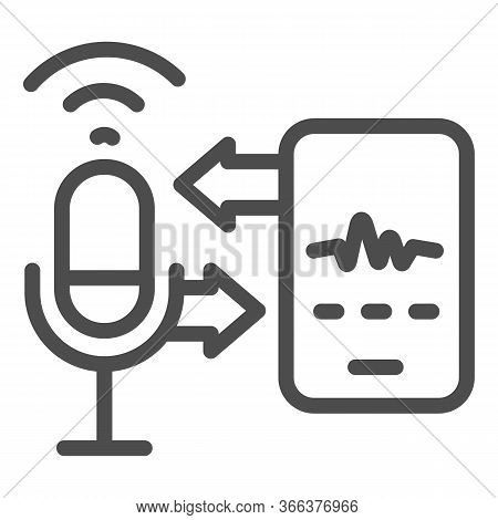 Microphone And Sound Recording With Smartphone Line Icon, Smart Home Multimedia Symbol, Speech Recog