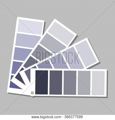 A Palette Of Delicate Blue Flowers In Different Shades. Shades From Dark Blue To Gray-blue. Vector I
