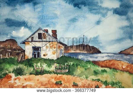 Watercolor Drawing Of Old House. Illustration Of White Shabby House Near The Water. Landscape With T