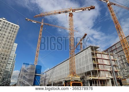 Stockholm, Sweden - August 23, 2018: Ongoing Construction At Sergels Torg Square In Norrmalm Distric