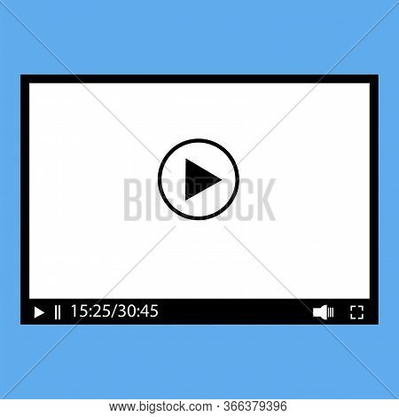 Media Player Video Interface. Movie Icon Or Button Template. Media Player On A Blue Background. Vect