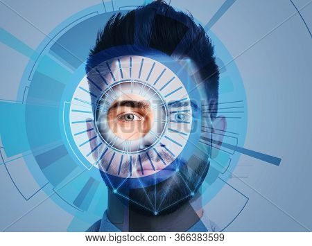 Facial Recognition System. Young Man Scanned By Iris And Digital Biometric Grid