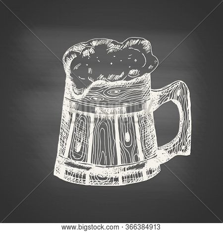 Chalk Drawing Of A Wooden Beer Mug And Beer Foam Overflowing Over The Edge On Chalkboard. Hand Drawn