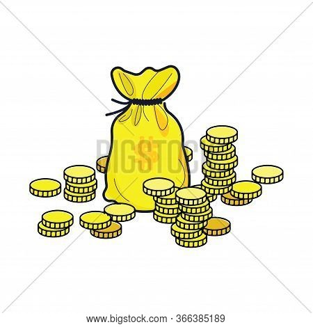 A Bag Of Money. The Rich Profit From The Contribution Of Illustration. Wealth From Money