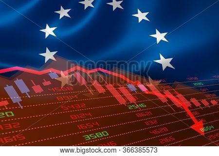 3d Rendering Of European Union Economic Downturn With Stock Exchange Market Showing Stock Chart Down