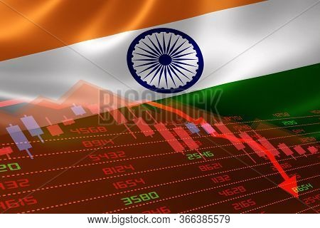 3d Rendering Of India Economic Downturn With Stock Exchange Market Showing Stock Chart Down And In R