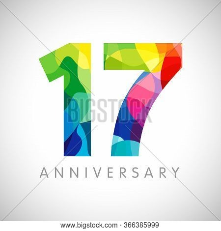 17 Th Anniversary Numbers. 17 Years Old Logotype. Bright Congrats. Isolated Abstract Graphic Design