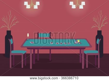Poker Green Table Flat Color Vector Illustration. Desk With Deck Of Cards To Play Blackjack. Empty S