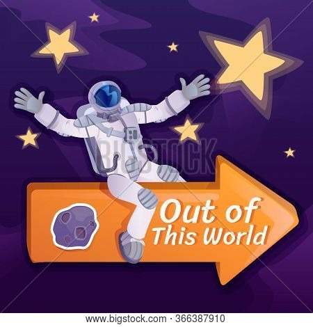 Out Of This World Social Media Post Mockup. Inspirational Phrase. Web Banner Design Template. Cosmon