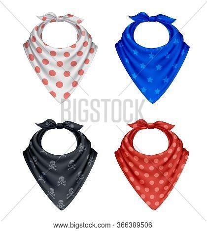 Bandana Scarf Buff Handkerchief Realistic Polkadot Pattern Set Of Four Colourful Textile Products On