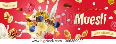 Natural Muesli With Vitamins On Red Background Horizontal Poster Promoting Healthy Breakfast Realist