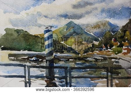 Watercolor Original Landscape With Pier And Boats Docked At A Marina On Lake Como In The Harbor Of T