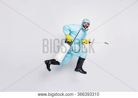 Full Size Profile Side Photo Man Jump Run Use Sprayer Hurry Disinfect House Wear White Suit Hazmat Y