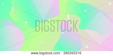 Memphis Pastel Background. Geometric Liquid Design. Green Funny Layout. Trendy Graphic Brochure. Abs