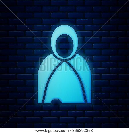 Glowing Neon Mantle, Cloak, Cape Icon Isolated On Brick Wall Background. Magic Cloak Of Mage, Wizard