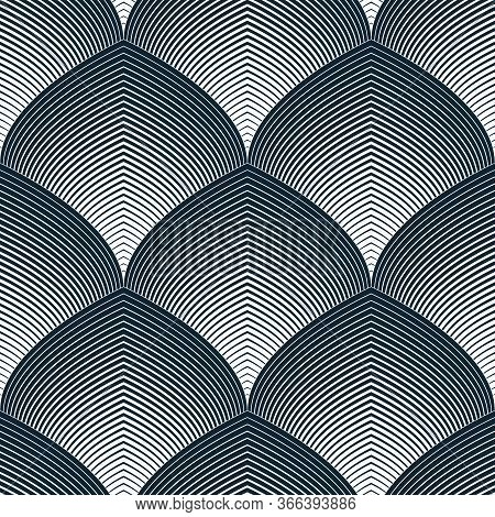 Abstract Lines Geometric Seamless Pattern, Vector Repeat Endless Fabric Background. Roof Tiling Or F