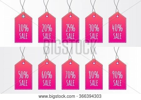 10 20 25 30 40 50 60 70 80 90 Percent Shopping Tag Set. Vector Icon Isolated. Sign For Sale, Label,
