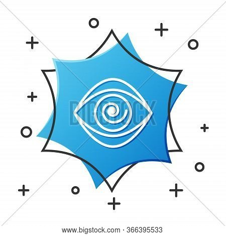 White Line Hypnosis Icon Isolated On White Background. Human Eye With Spiral Hypnotic Iris. Blue Hex