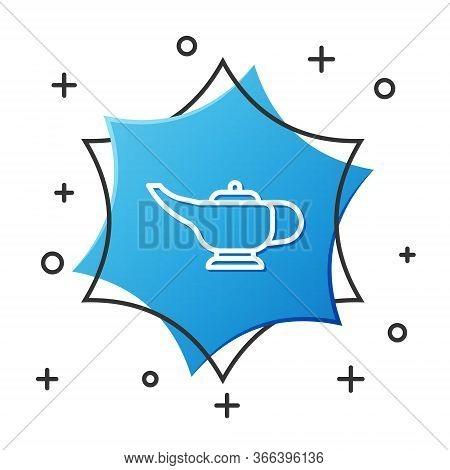 White Line Magic Lamp Or Aladdin Lamp Icon Isolated On White Background. Spiritual Lamp For Wish. Bl