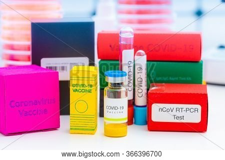 A set of medicines in medical lab for coronavirus NCOV- 19 from PCR test, antibody test, vaccine and remdesivir antiviral drug