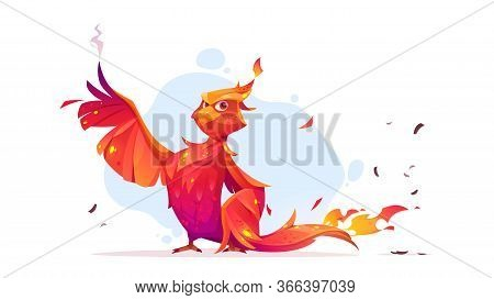 Phoenix Or Fenix Fire Bird Cartoon Character. Fantasy Magic Creature With Red Burning Plumage And St