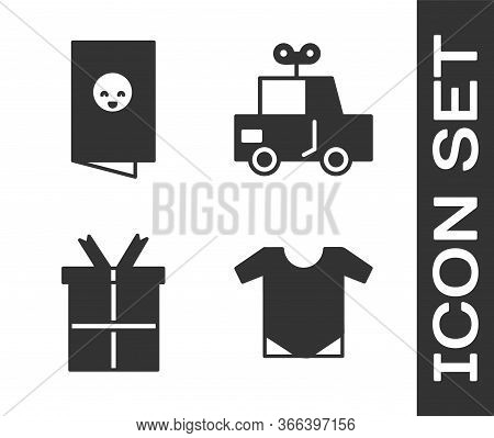 Set Baby Onesie, Baby Shower Invitations Card, Poster, Gift Box And Toy Car Icon