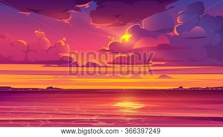 Sea Sunset. Tropical Landscape With Ocean, Sky And Clouds In Red Light Of Evening Sun. Vector Cartoo