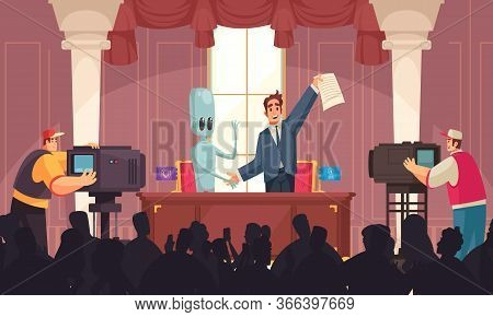 Alien Ufo Peace Composition With Indoor Press Conference Scenery And Happy People With Papers And Hu