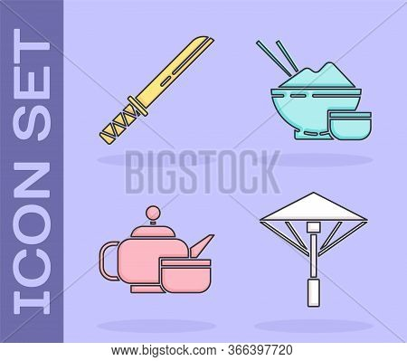Set Japanese Umbrella From The Sun, Traditional Japanese Katana, Japanese Tea Ceremony And Rice In A