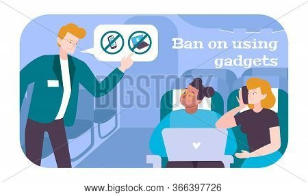 Passengers In Airplane Flat Poster With Steward Giving Ban On Using Gadgets With Internet Vector Ill
