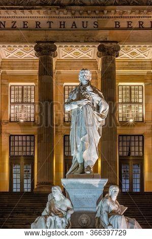 Berlin / Germany - February 28, 2017: Schiller Monument On Gendarmenmarkt Square In Central Berlin I
