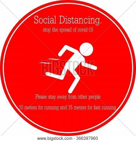 Icon People Running, Stop The Spread Of Covid-19 Concept Social Distancing For Run Stay Away From Ot