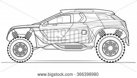 Coloring Page Contouring For Book And Drawing. Concept Vector Illustration. Offroad Drive Vehicle. G