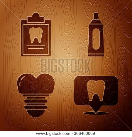 Set Dental Clinic Location, Clipboard With Dental Card, Dental Implant And Tube Of Toothpaste On Woo
