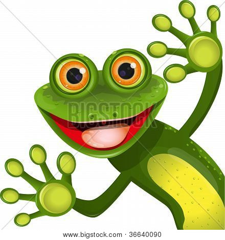 illustration merry green frog with greater eye poster