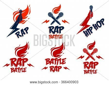 Rap Music Vector Logos Or Emblems Set With Microphone In Hand Flames And Lightning Bolt, Hot Hip Hop