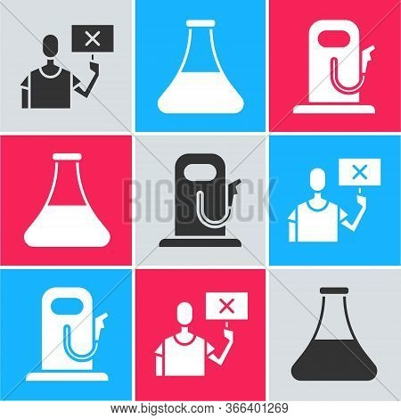 Set Nature Saving Protest, Oil Petrol Test Tube And Petrol Or Gas Station Icon